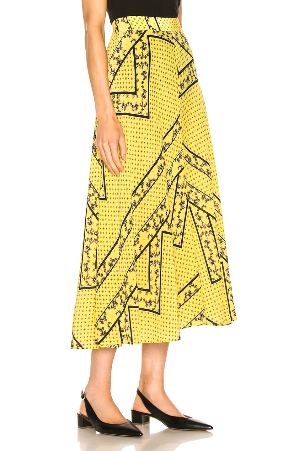 908079be8 Image 2 of Ganni Silk Mix Skirt in Minion Yellow