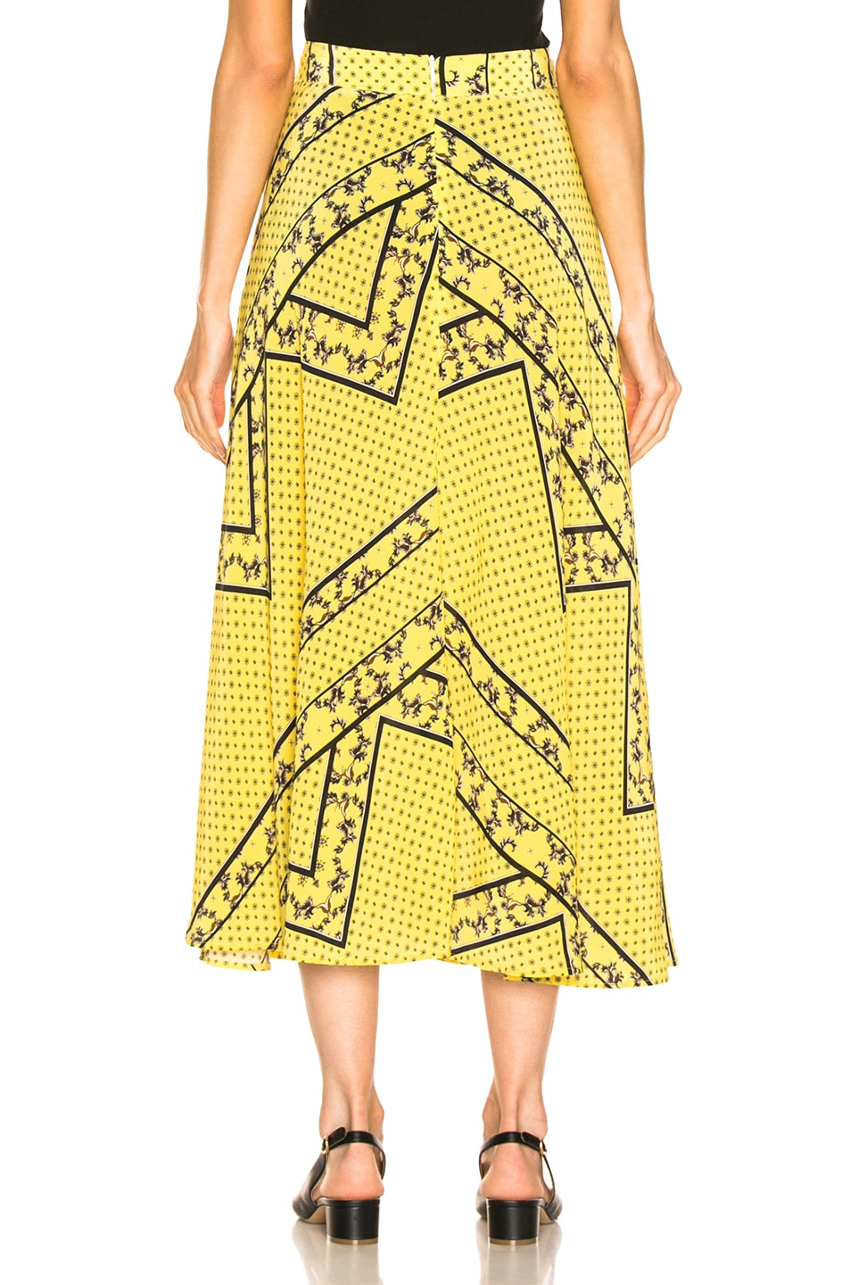 Image 3 of Ganni Silk Mix Skirt in Minion Yellow
