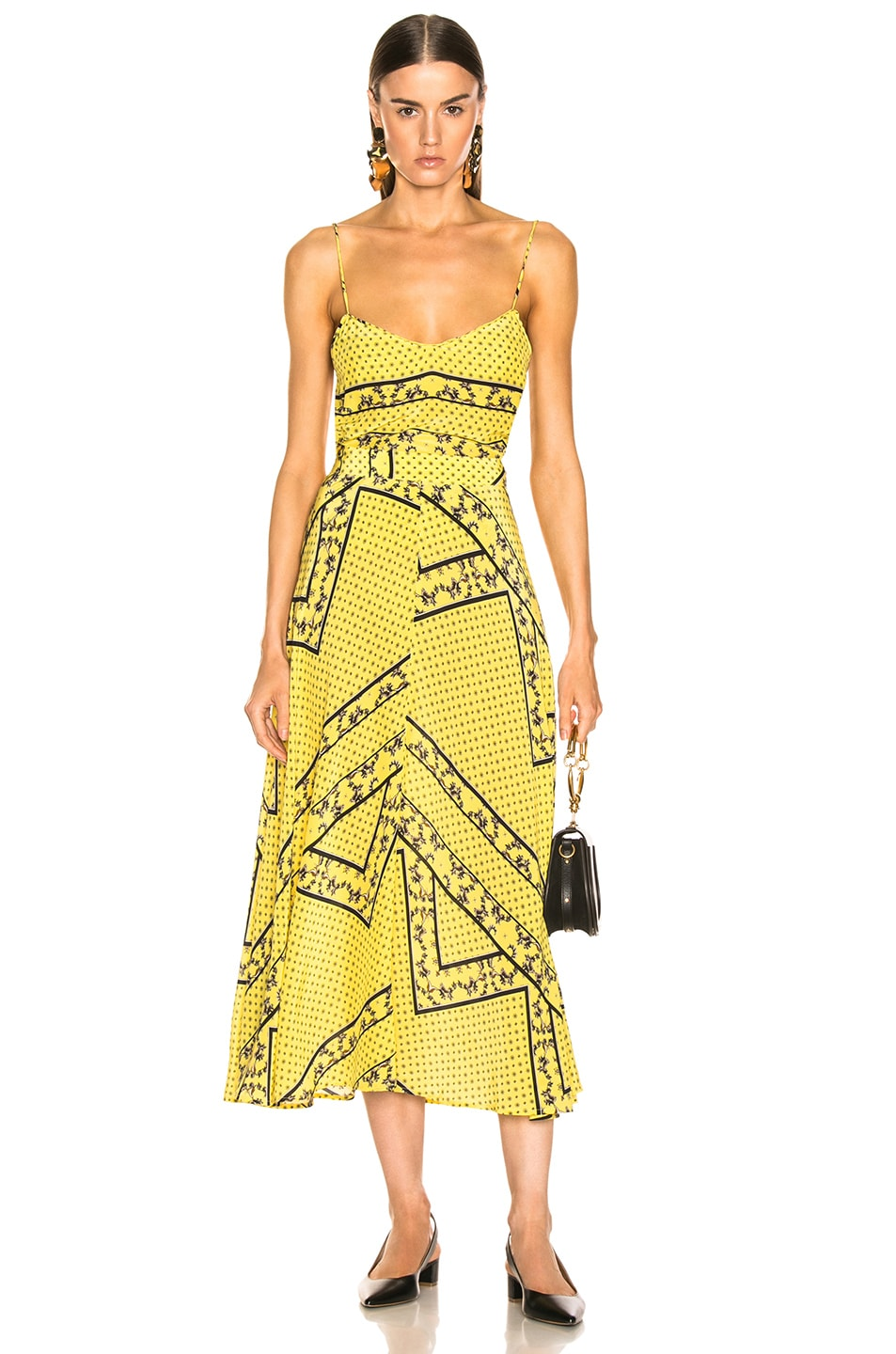 Image 4 of Ganni Silk Mix Skirt in Minion Yellow