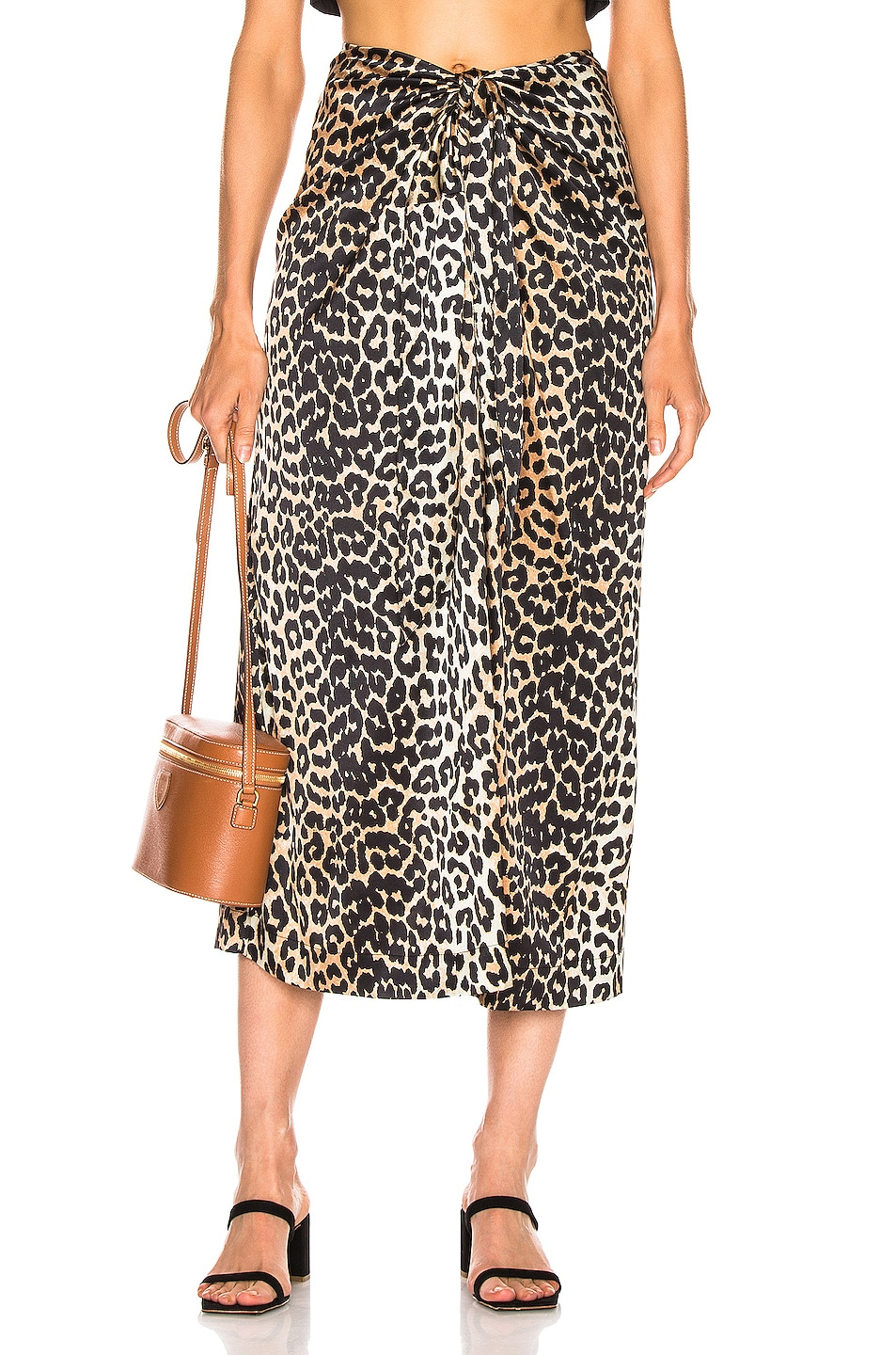 Image 1 of Ganni Silk Stretch Satin Skirt in Leopard