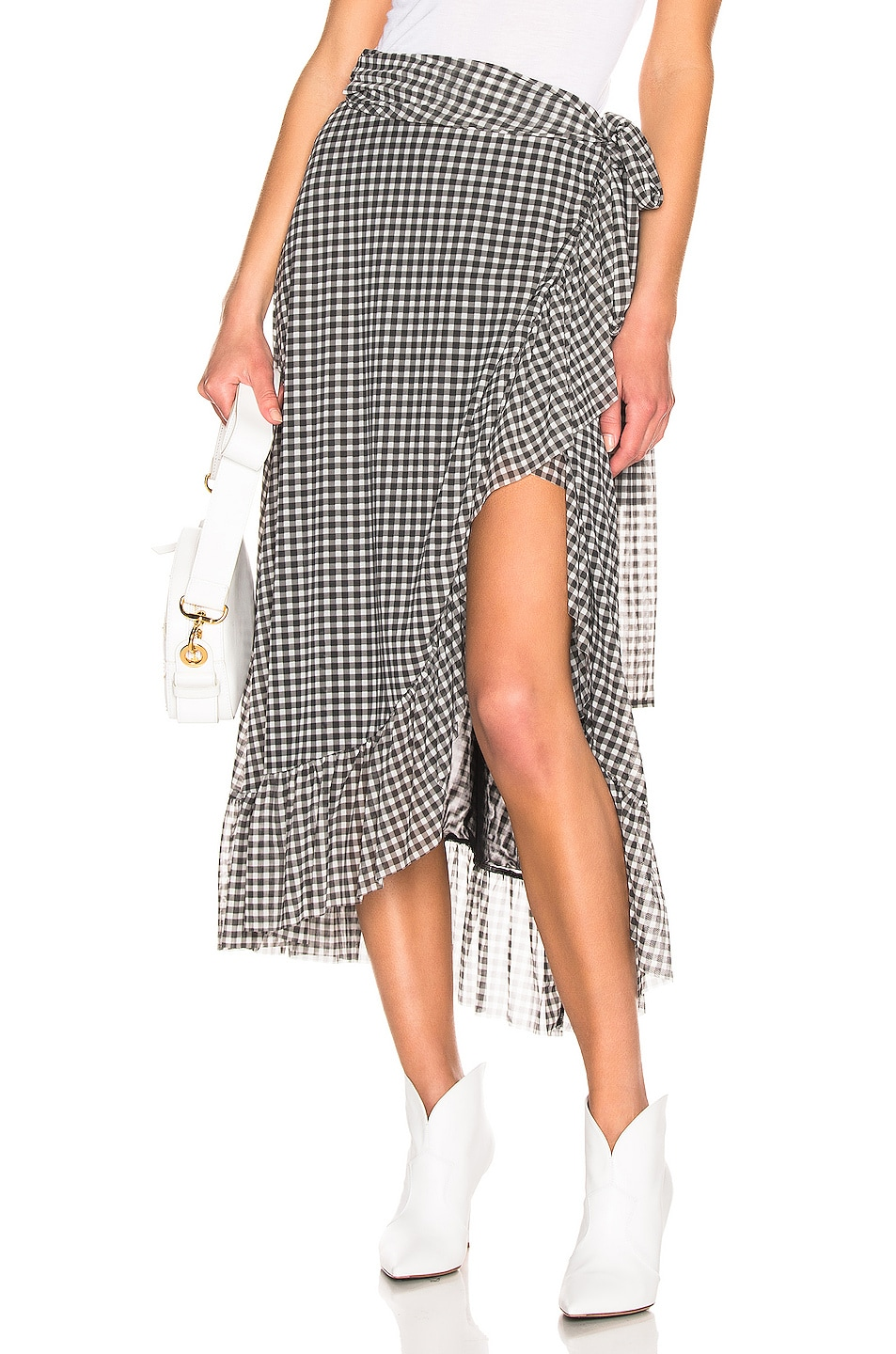 Image 1 of Ganni Printed Mesh Skirt in Black