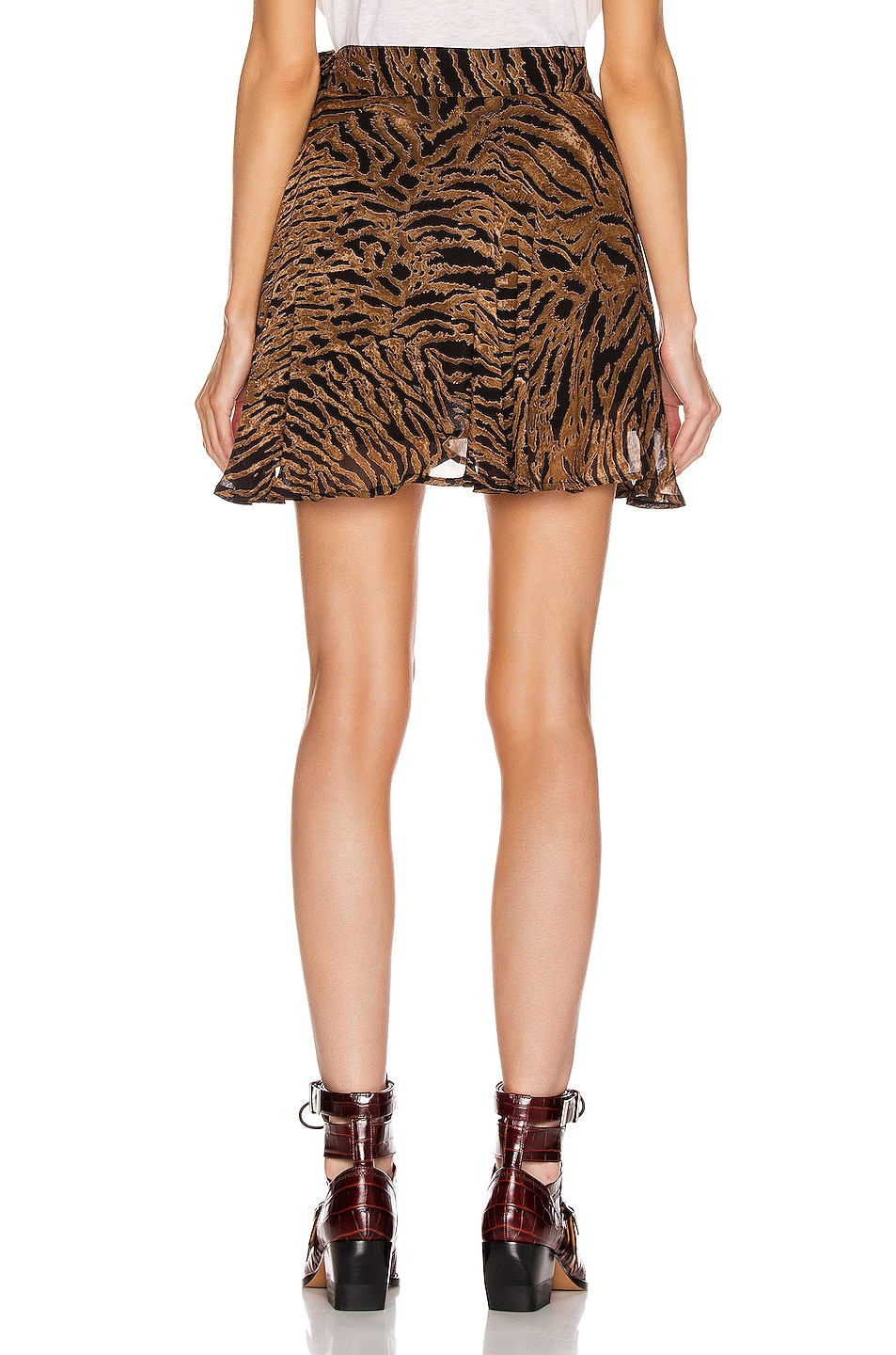 Image 3 of Ganni Printed Georgette Mini Skirt in Tiger