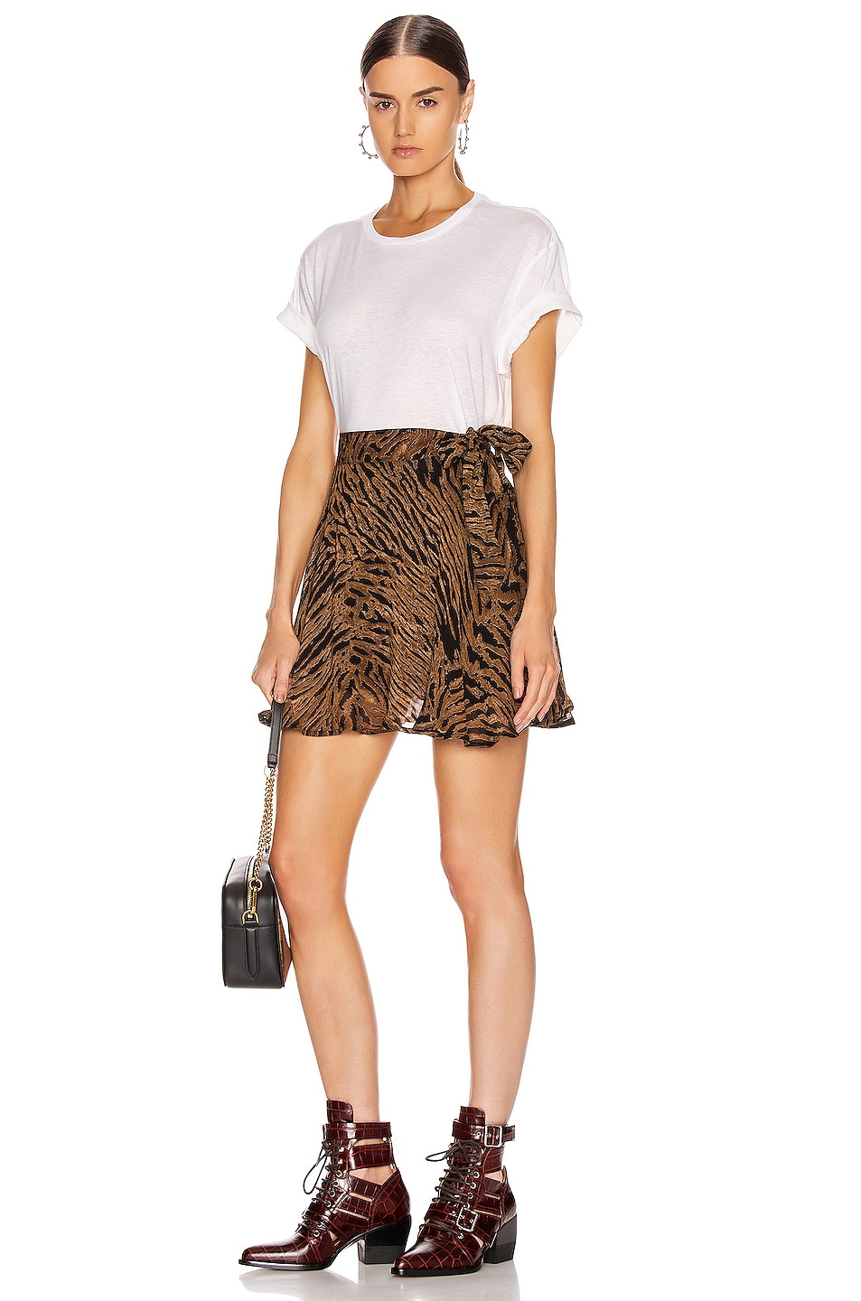 Image 4 of Ganni Printed Georgette Mini Skirt in Tiger