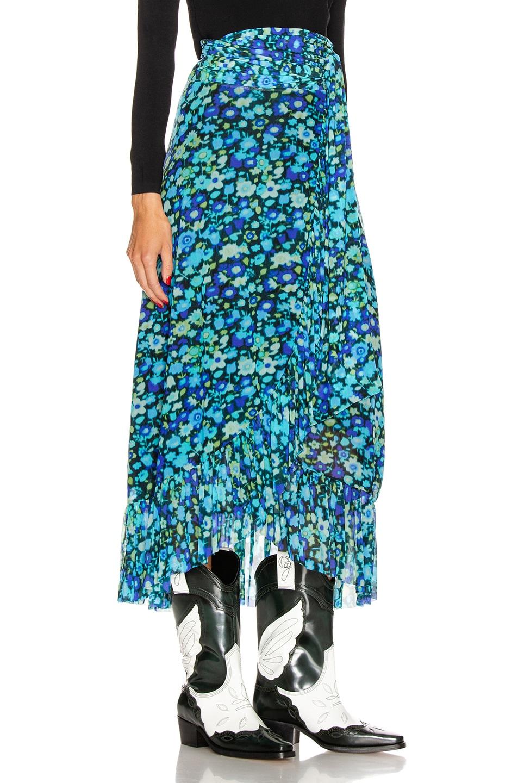 Image 2 of Ganni Printed Mesh Skirt in Azure Blue