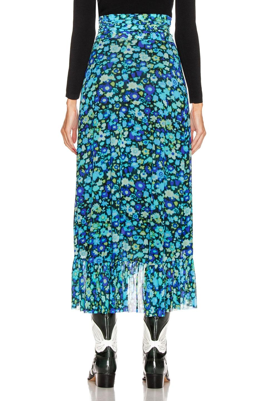Image 3 of Ganni Printed Mesh Skirt in Azure Blue
