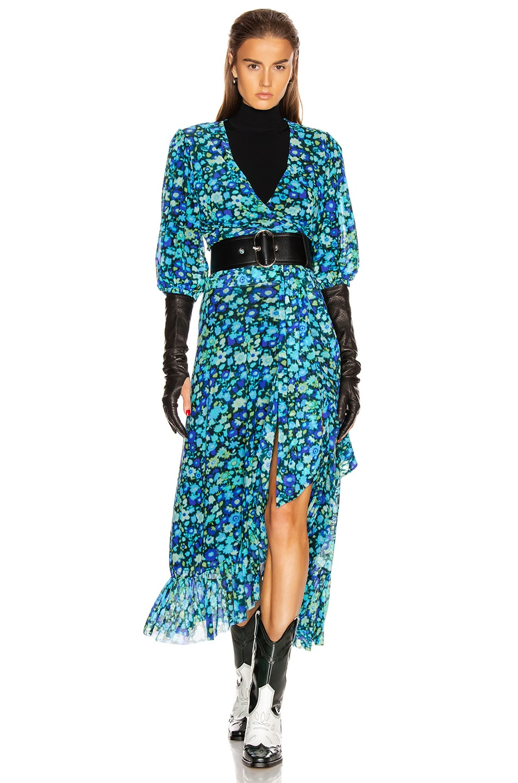 Image 4 of Ganni Printed Mesh Skirt in Azure Blue