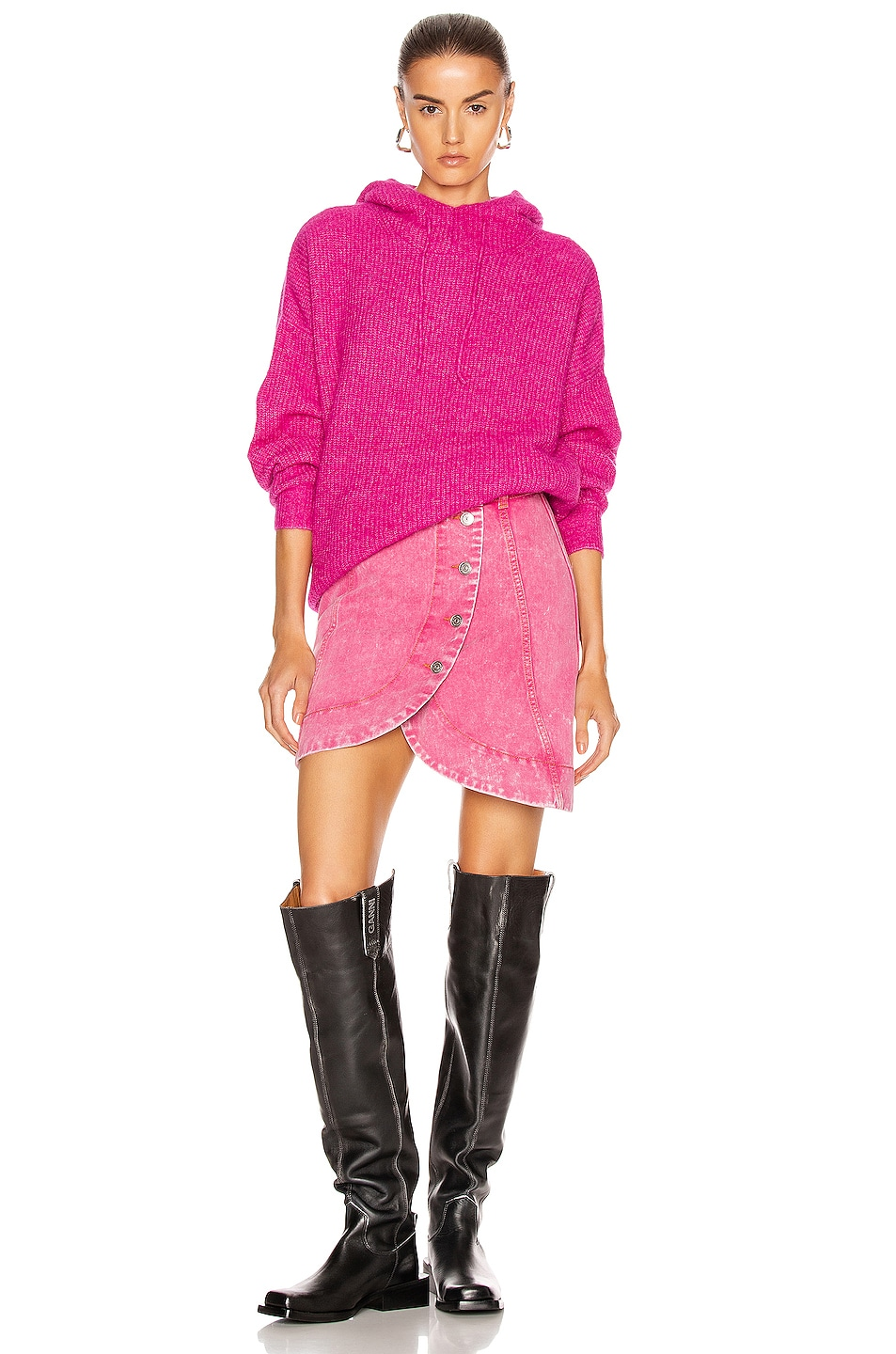 Image 5 of Ganni Washed Denim Skirt in Fuchsia Red