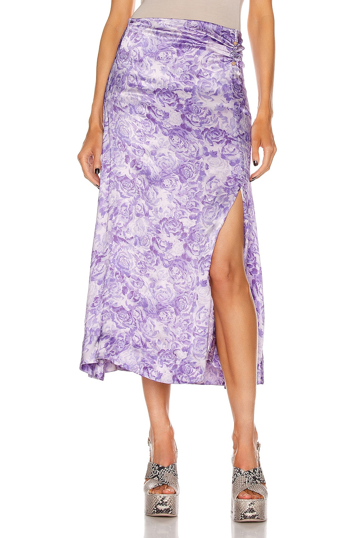 Image 1 of Ganni Heavy Satin Skirt in Violet Tulip