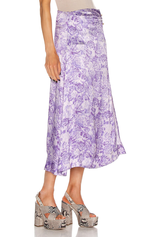 Image 2 of Ganni Heavy Satin Skirt in Violet Tulip