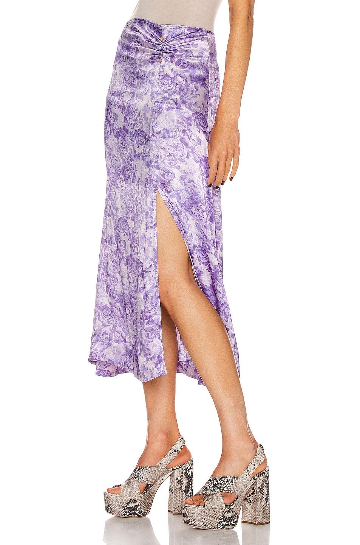 Image 3 of Ganni Heavy Satin Skirt in Violet Tulip
