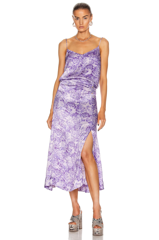 Image 5 of Ganni Heavy Satin Skirt in Violet Tulip