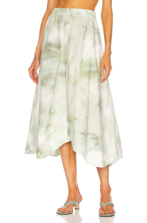 Image 1 of Ganni Printed Cotton Poplin Skirt in Kelly Green