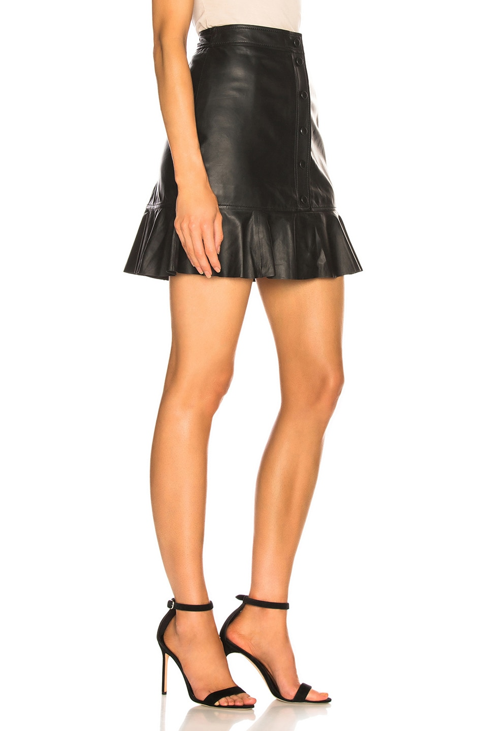 Image 2 of Ganni Thin Lamb Leather Skirt in Black