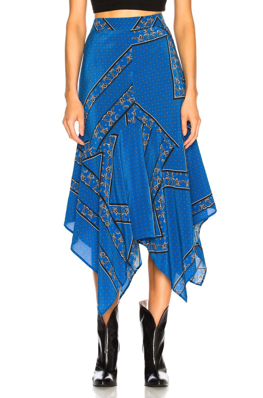 Image 1 of Ganni Sandwashed Silk Skirt in Lapis Blue