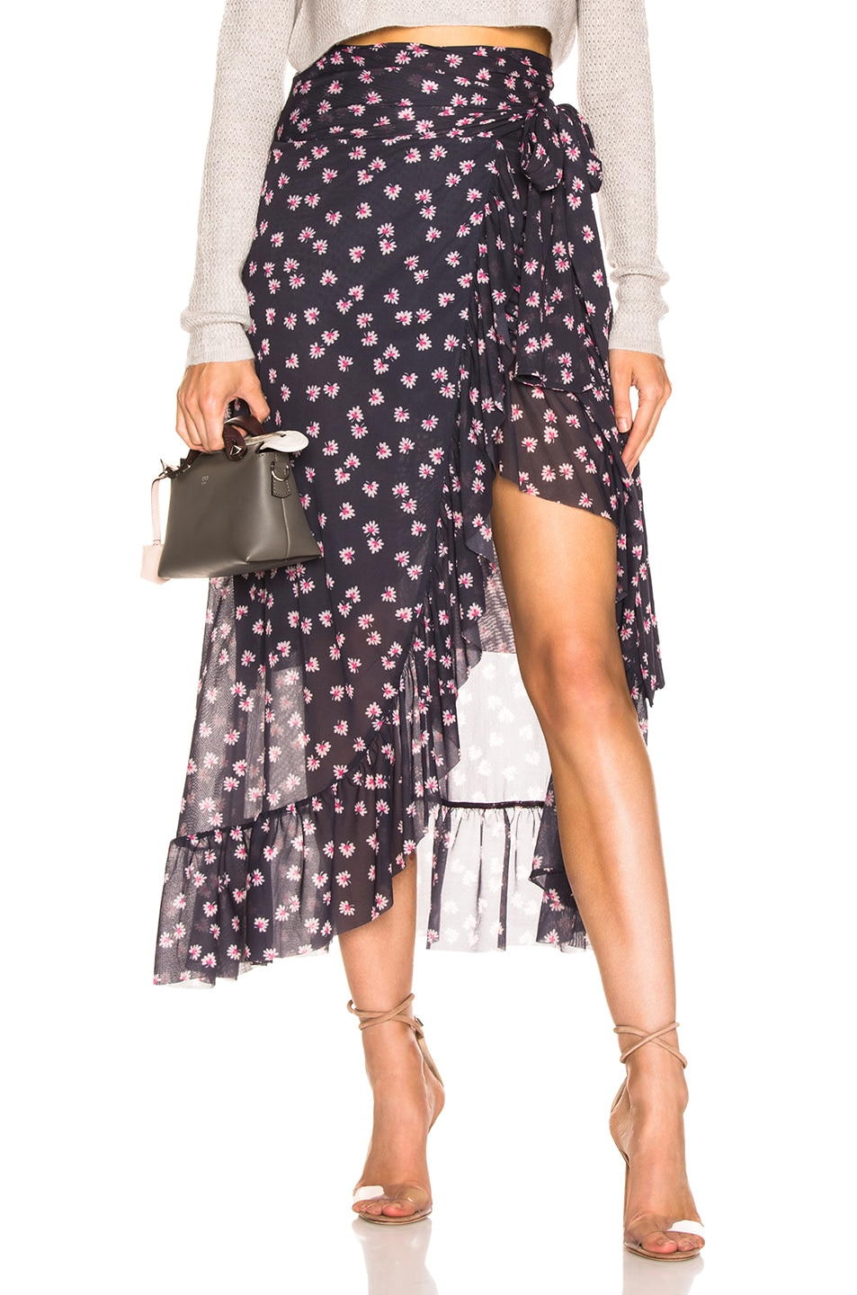 Image 1 of Ganni Printed Mesh Wrap Skirt in Total Eclipse