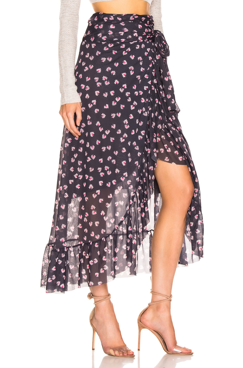 Image 2 of Ganni Printed Mesh Wrap Skirt in Total Eclipse