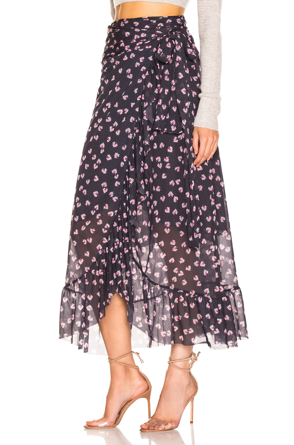 Image 3 of Ganni Printed Mesh Wrap Skirt in Total Eclipse