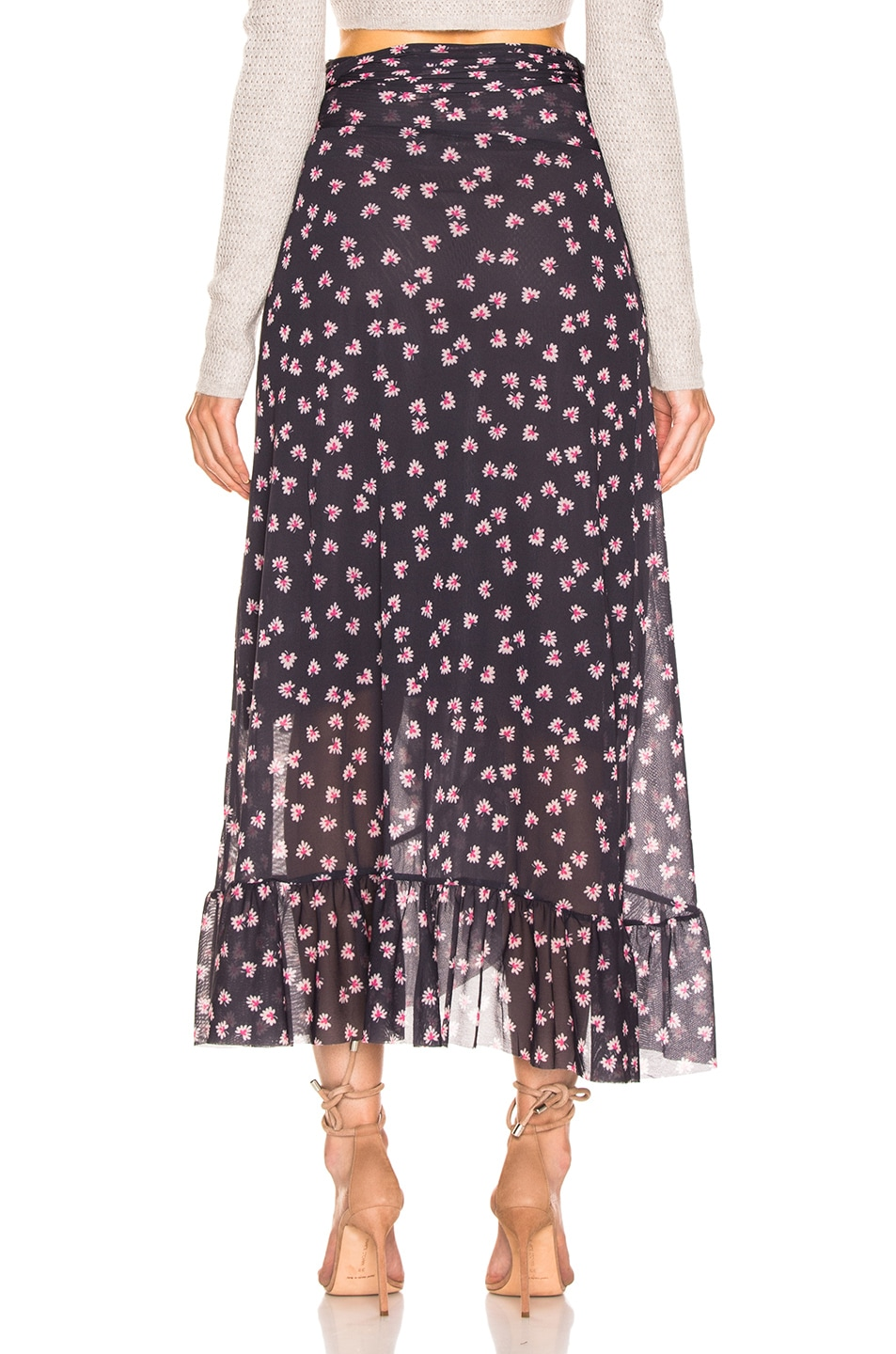Image 4 of Ganni Printed Mesh Wrap Skirt in Total Eclipse