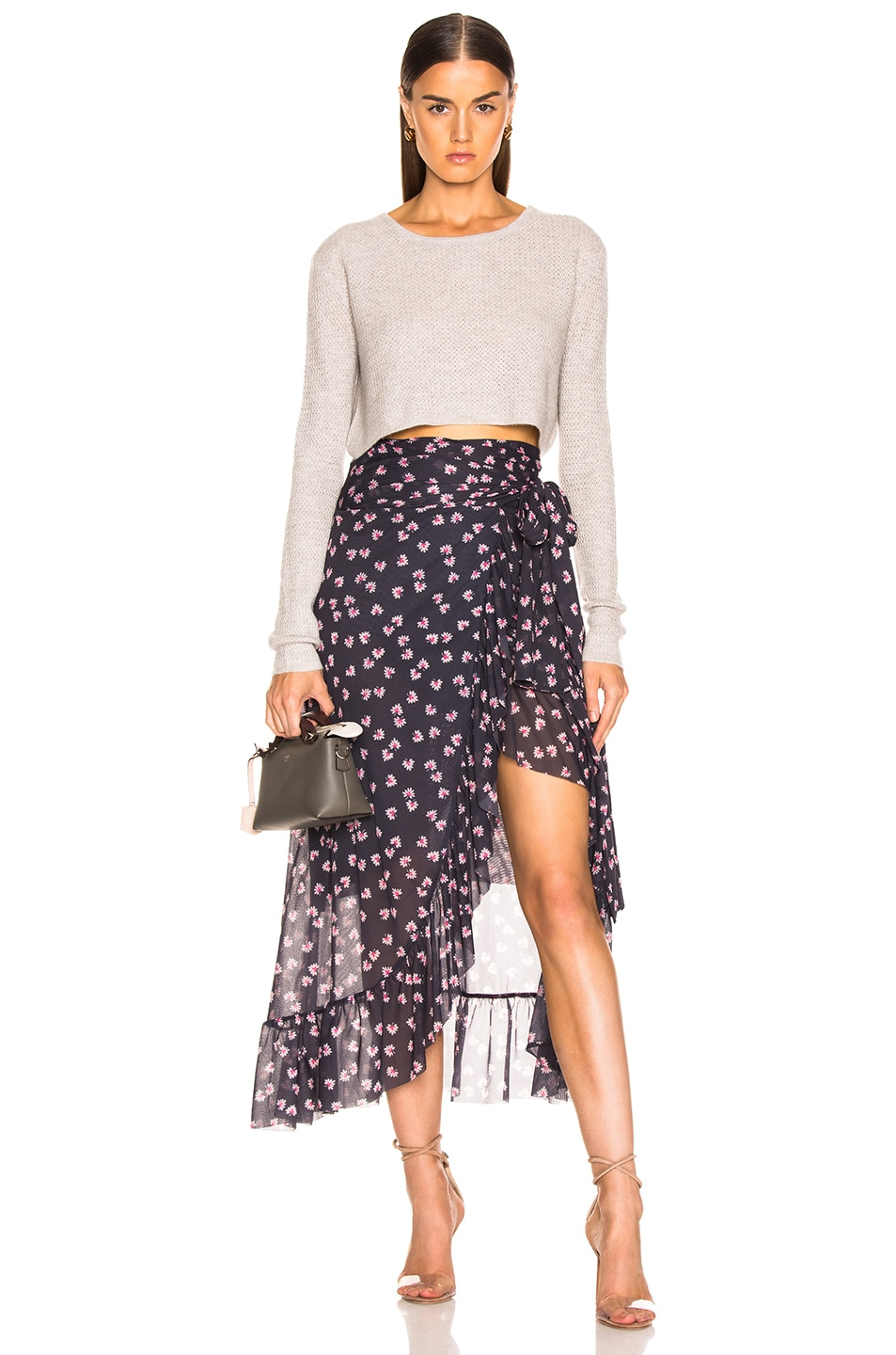 Image 5 of Ganni Printed Mesh Wrap Skirt in Total Eclipse