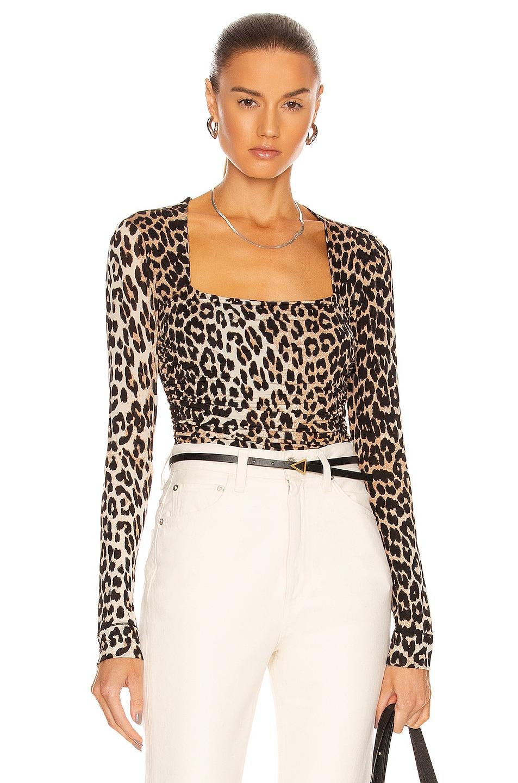 Image 1 of Ganni Bodysuit in Leopard