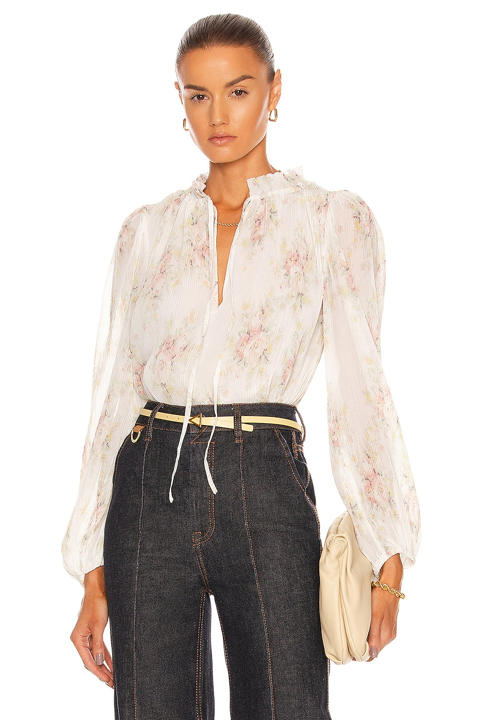Image 1 of Ganni Pleated Georgette Top in Egret
