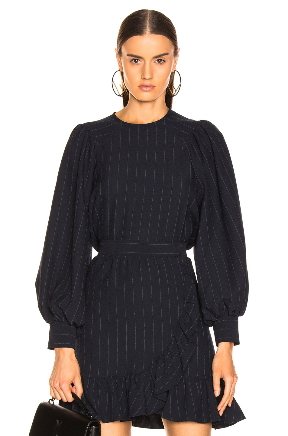 Image 1 of Ganni Heavy Crepe Top in Total Eclipse