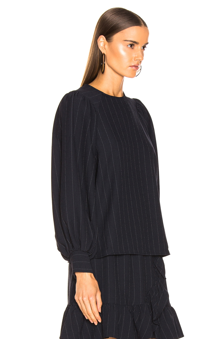 Image 2 of Ganni Heavy Crepe Top in Total Eclipse