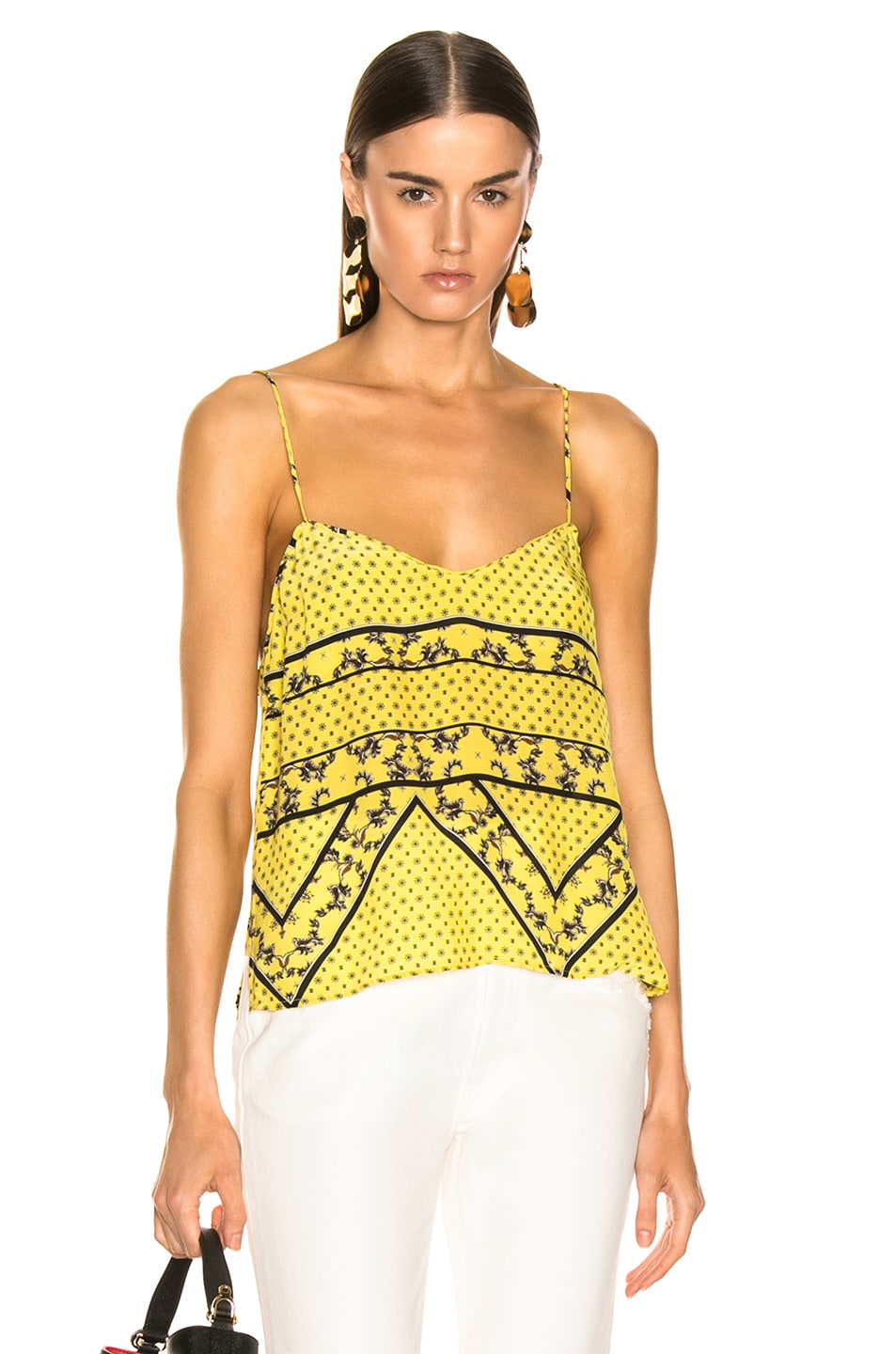 3098939bd Image 1 of Ganni Silk Mix Top in Minion Yellow