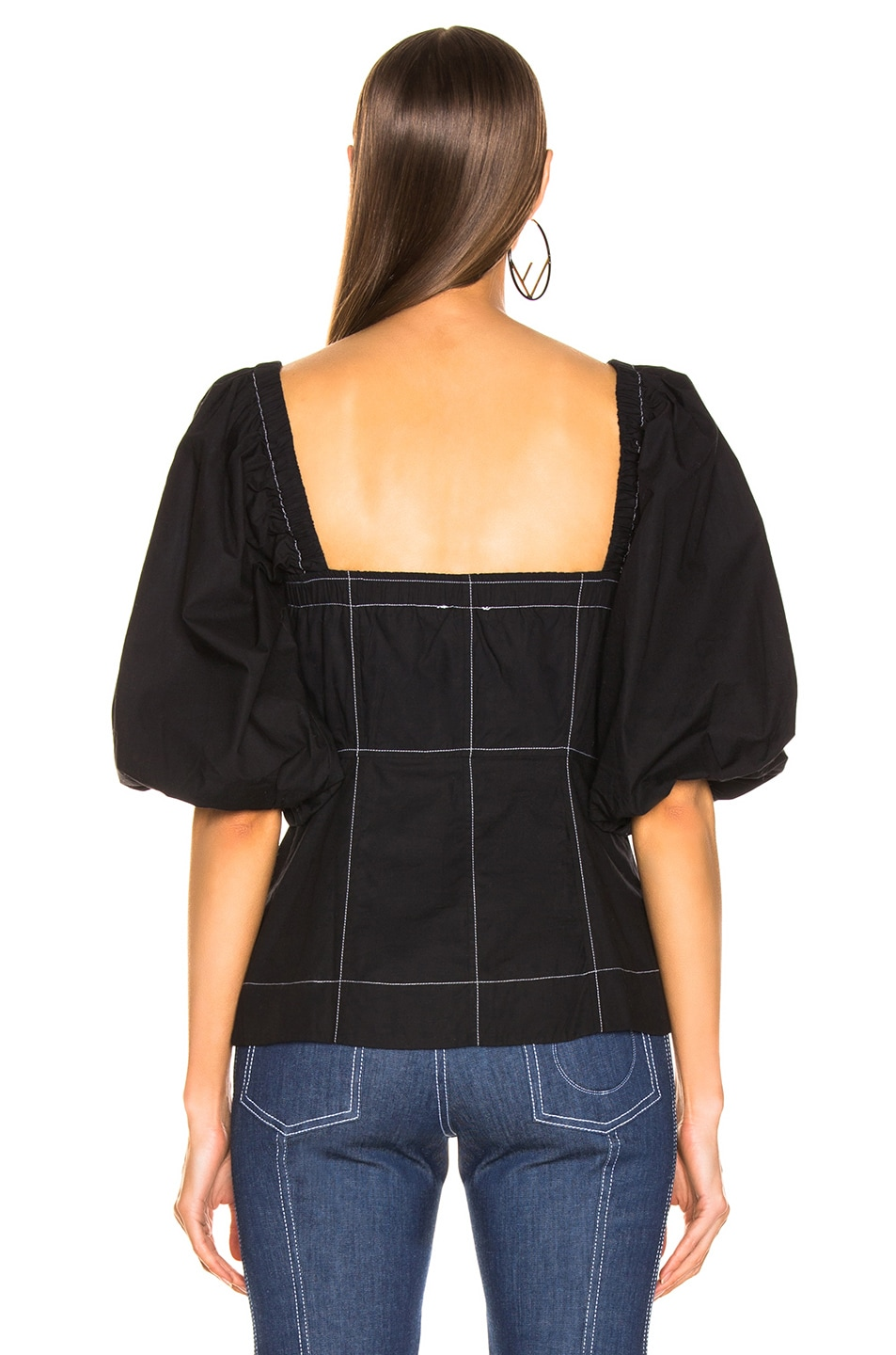 Image 3 of Ganni Cotton Poplin Top in Black