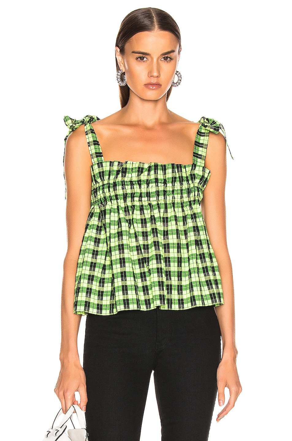 Image 1 of Ganni Seersucker Checker Top in Neon Maze