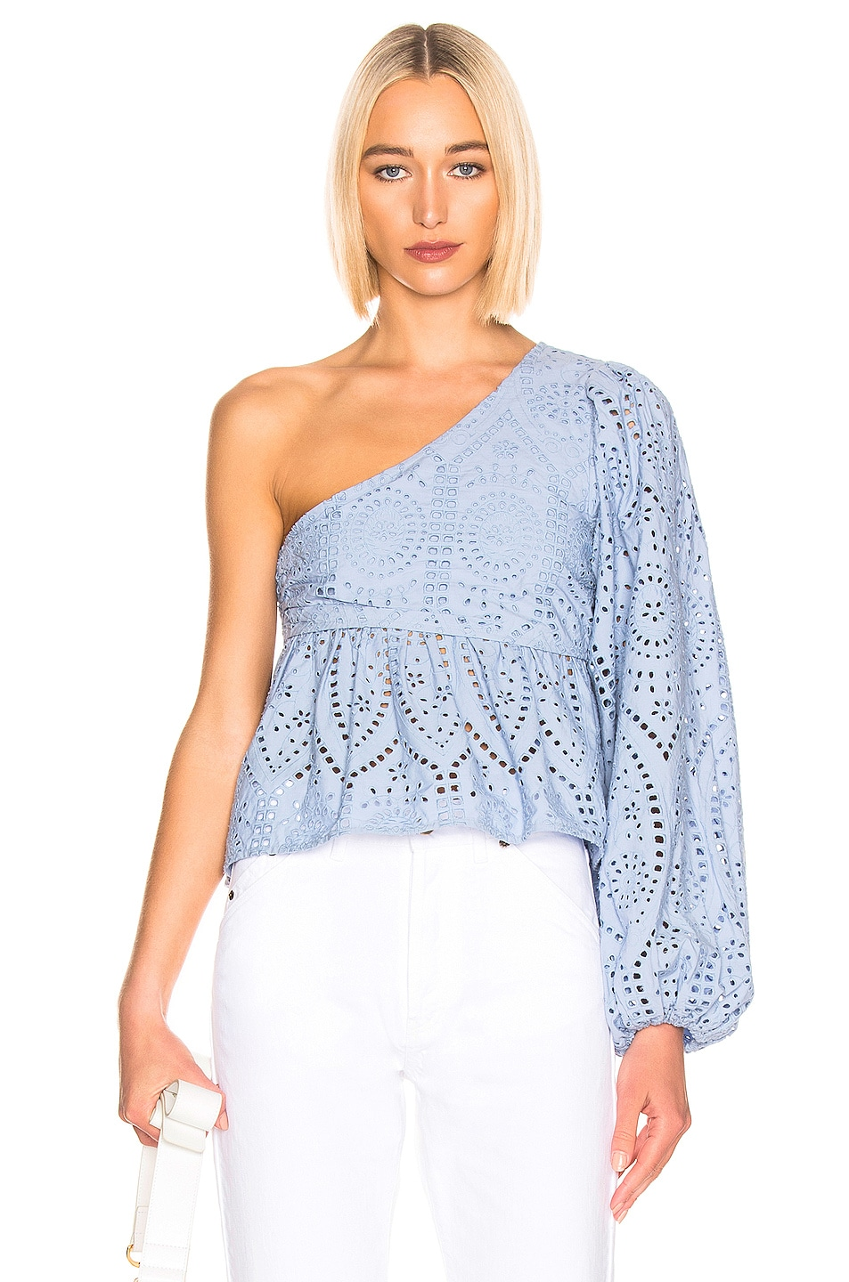 Image 1 of Ganni Broderie Anglaise Top in Forever Blue