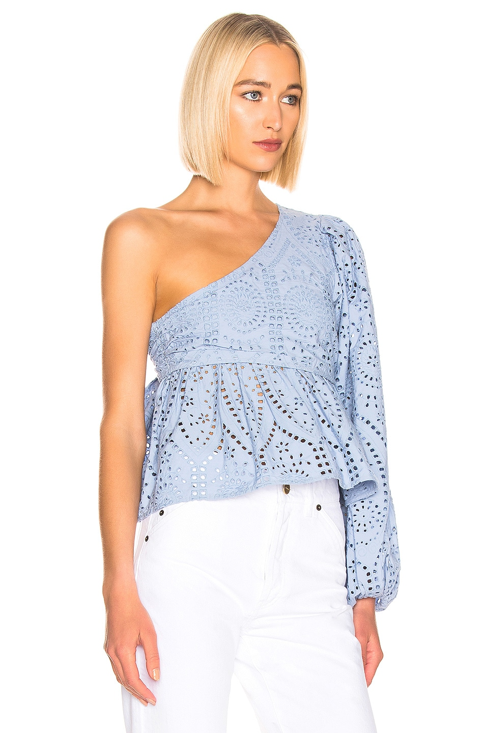 Image 2 of Ganni Broderie Anglaise Top in Forever Blue