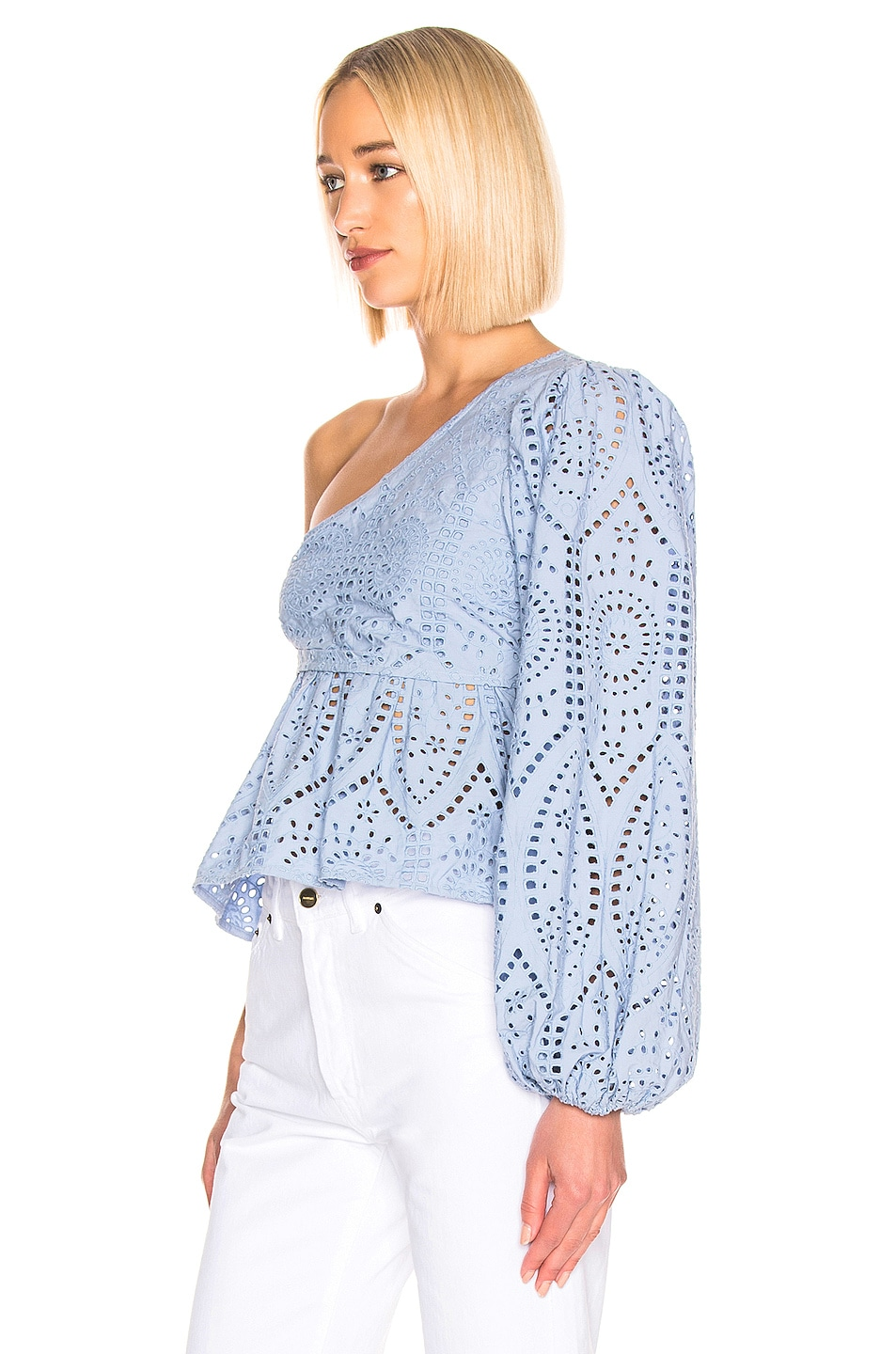 Image 3 of Ganni Broderie Anglaise Top in Forever Blue