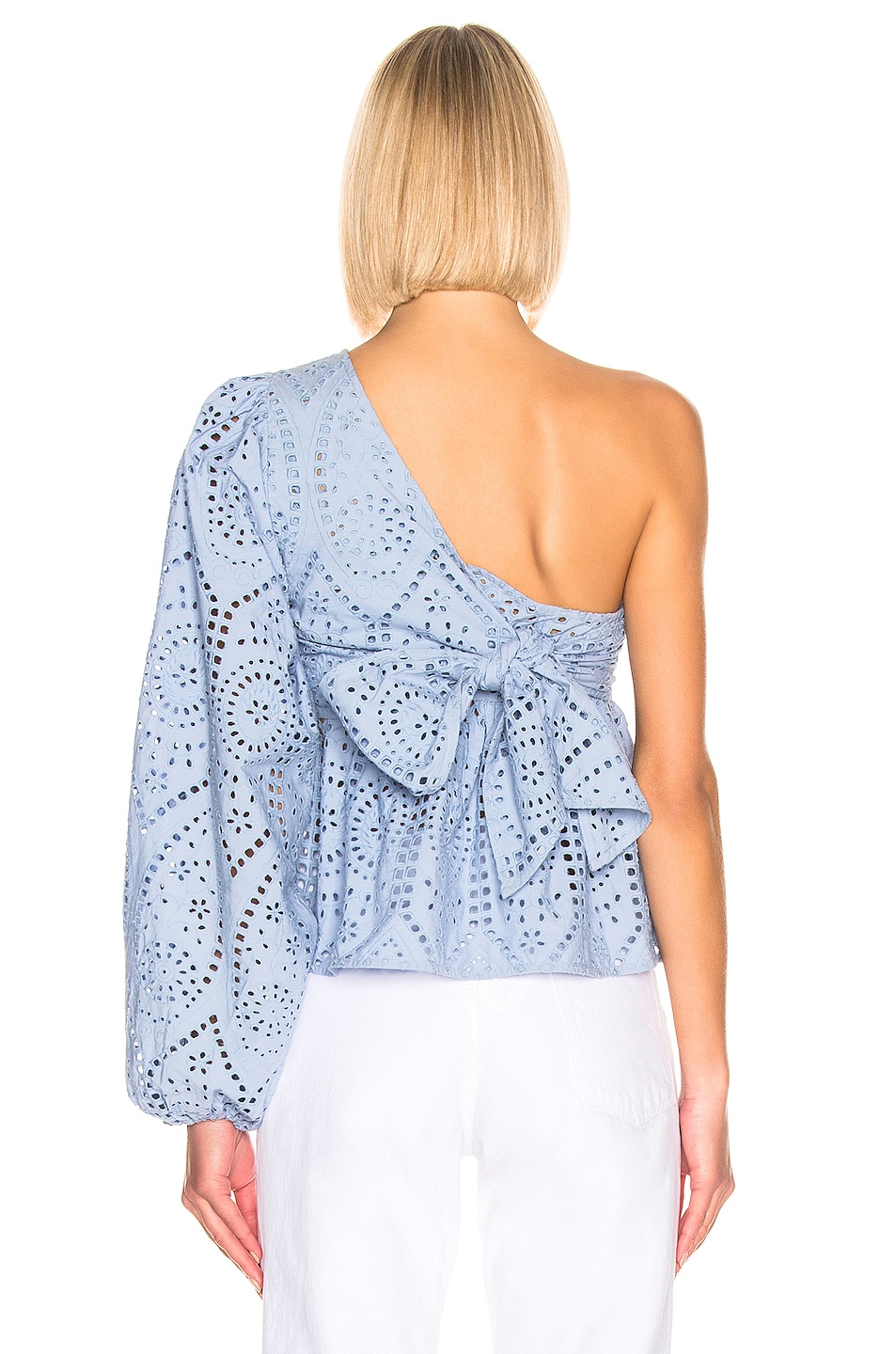 Image 4 of Ganni Broderie Anglaise Top in Forever Blue
