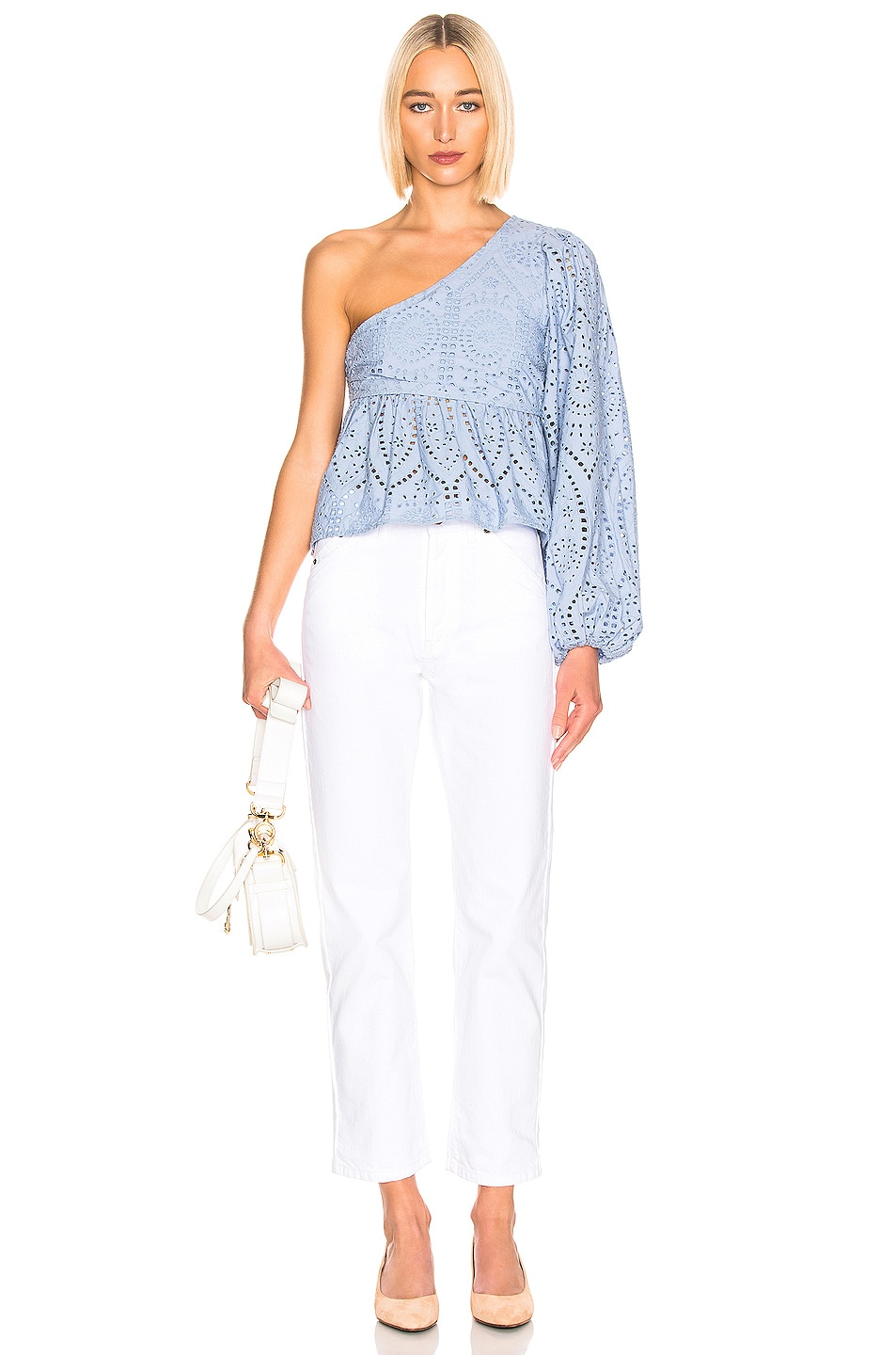 Image 5 of Ganni Broderie Anglaise Top in Forever Blue