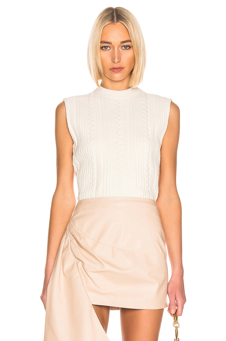 Image 1 of Ganni Cotton Knit Top in Egret