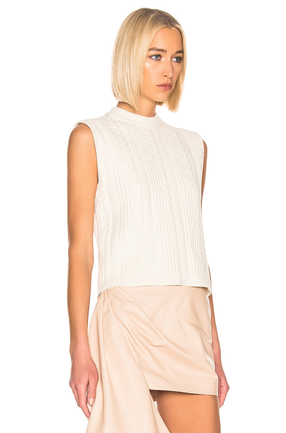 Image 2 of Ganni Cotton Knit Top in Egret