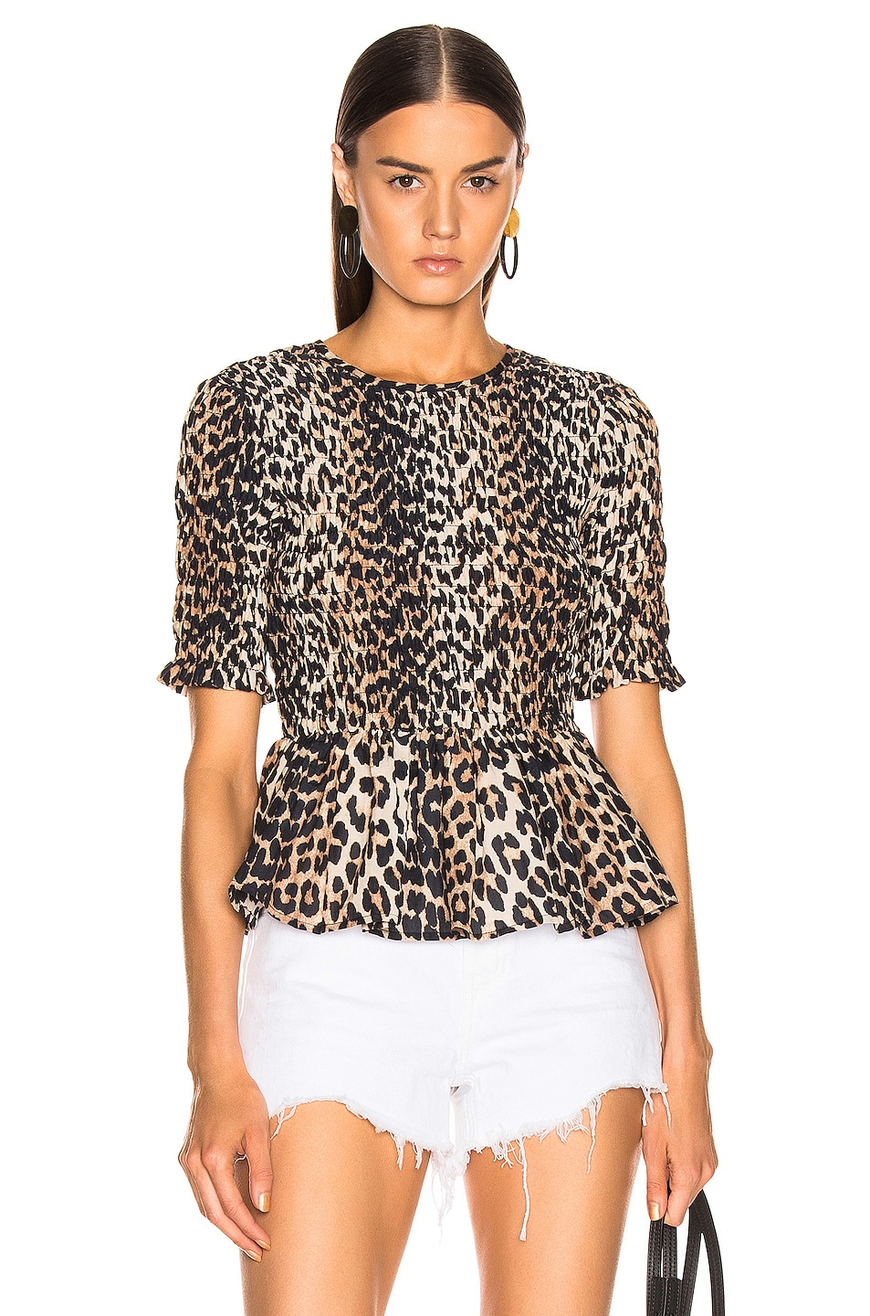 Image 1 of Ganni Cotton Silk Top in Leopard