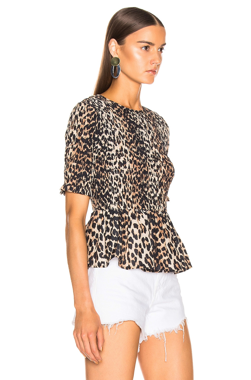 Image 2 of Ganni Cotton Silk Top in Leopard
