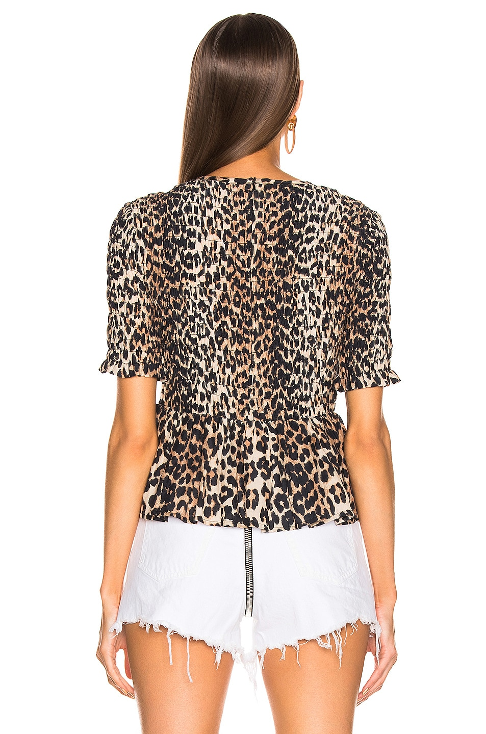 Image 3 of Ganni Cotton Silk Top in Leopard