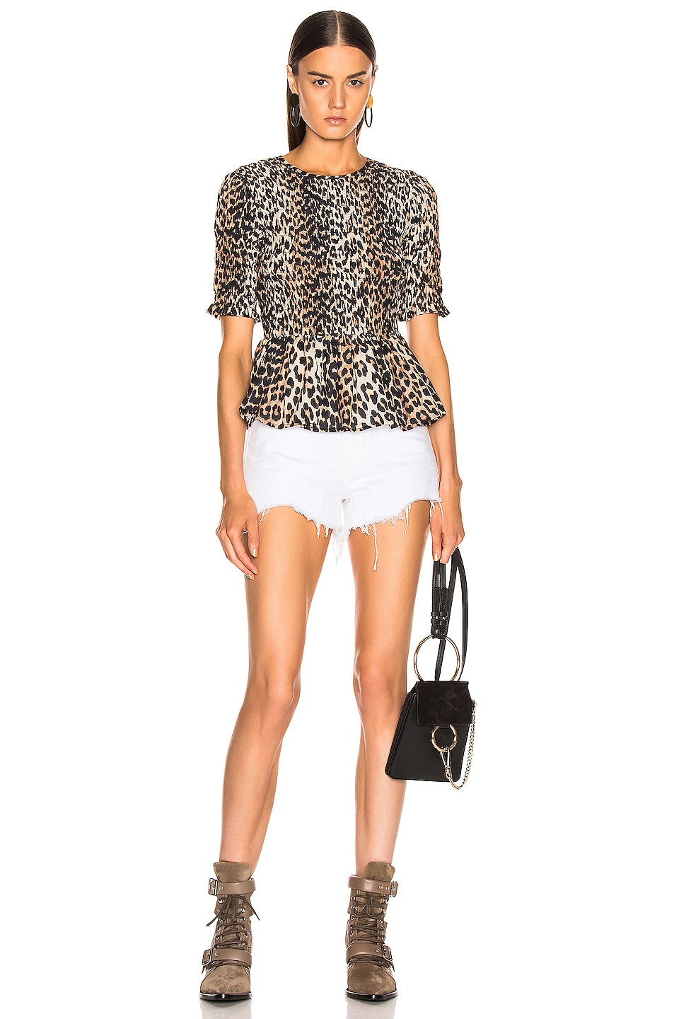 Image 4 of Ganni Cotton Silk Top in Leopard