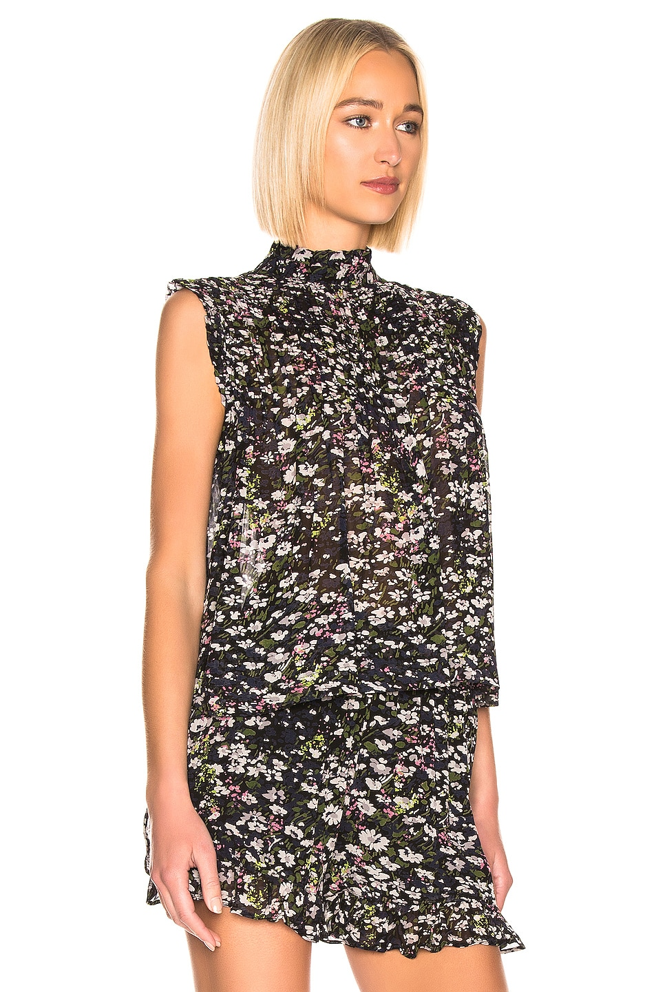 Image 2 of Ganni Printed Georgette Top in Black