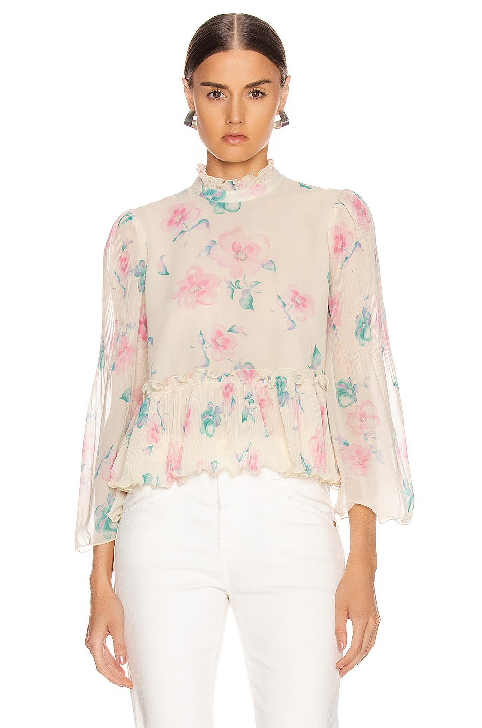 Image 1 of Ganni Pleated Georgette Top in Afterglow