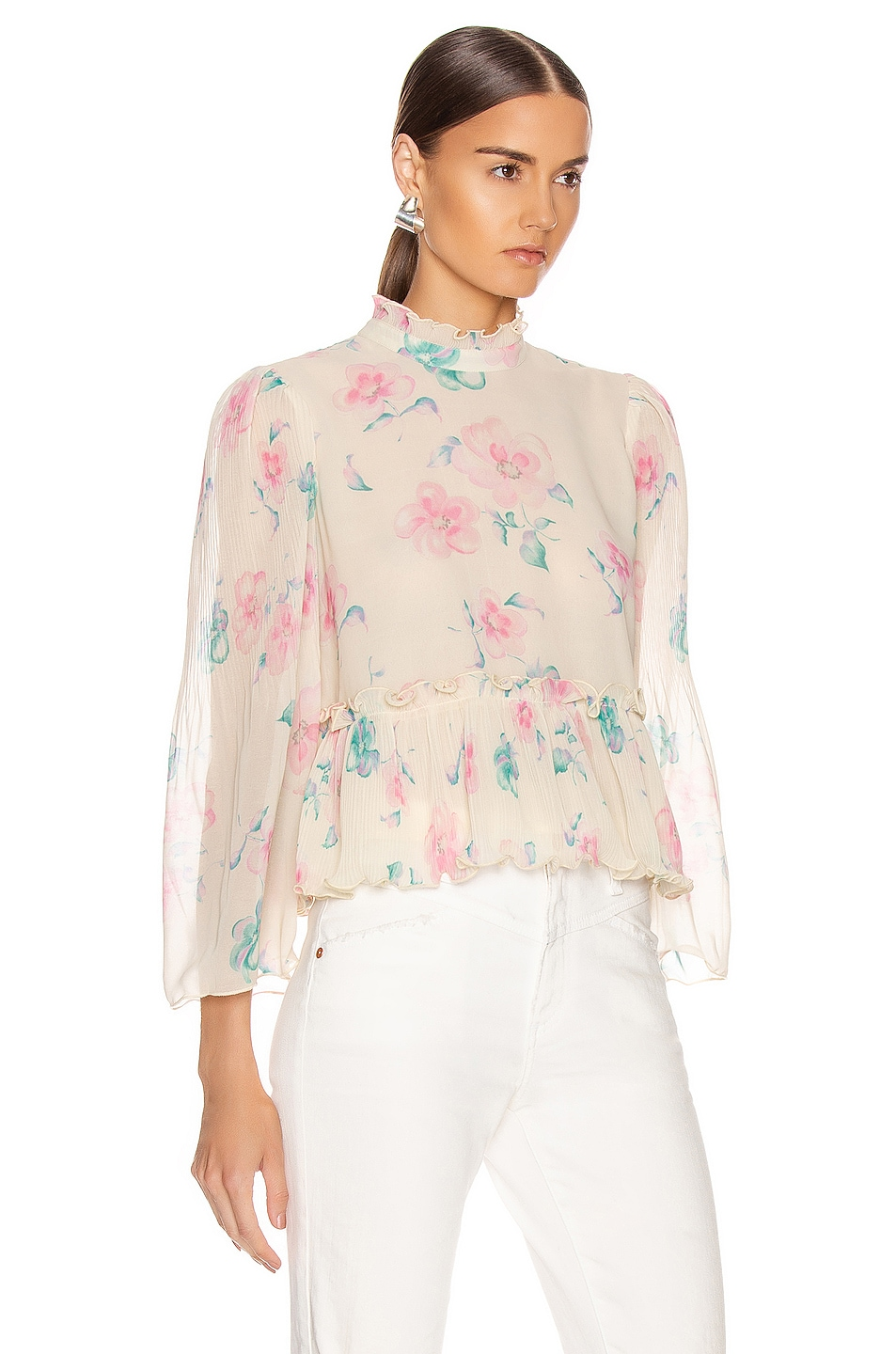 Image 2 of Ganni Pleated Georgette Top in Afterglow