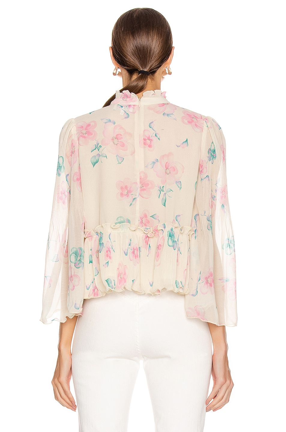 Image 3 of Ganni Pleated Georgette Top in Afterglow