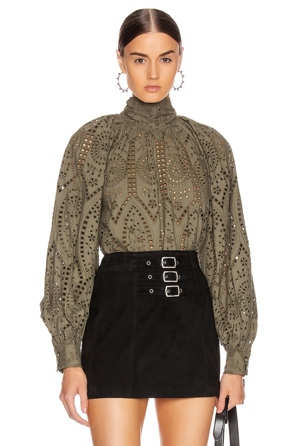 Image 1 of Ganni Broderie Anglaise Top in Kalamata