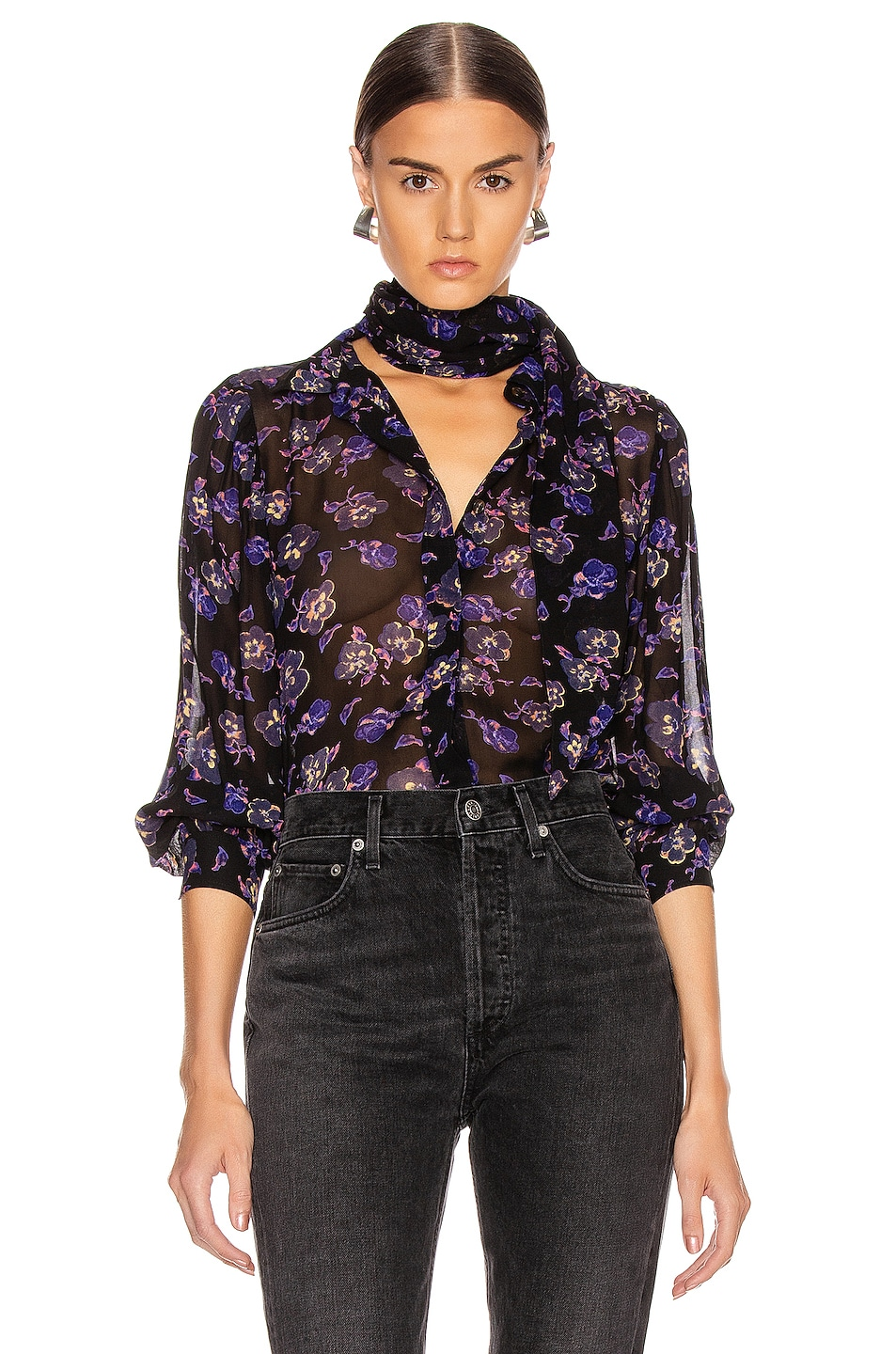 Image 1 of Ganni Printed Georgette Top in Black
