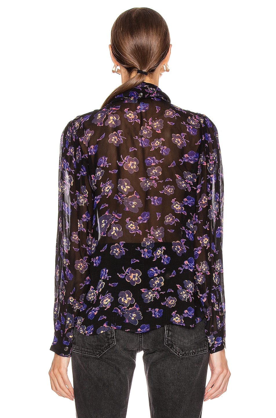 Image 3 of Ganni Printed Georgette Top in Black
