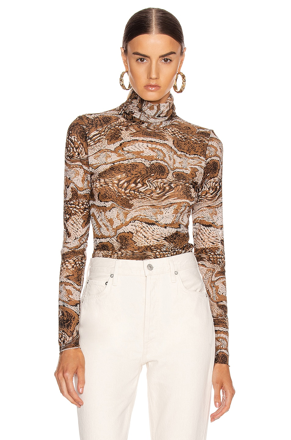 Image 1 of Ganni Mesh Turtle Neck in Tiger's Eye