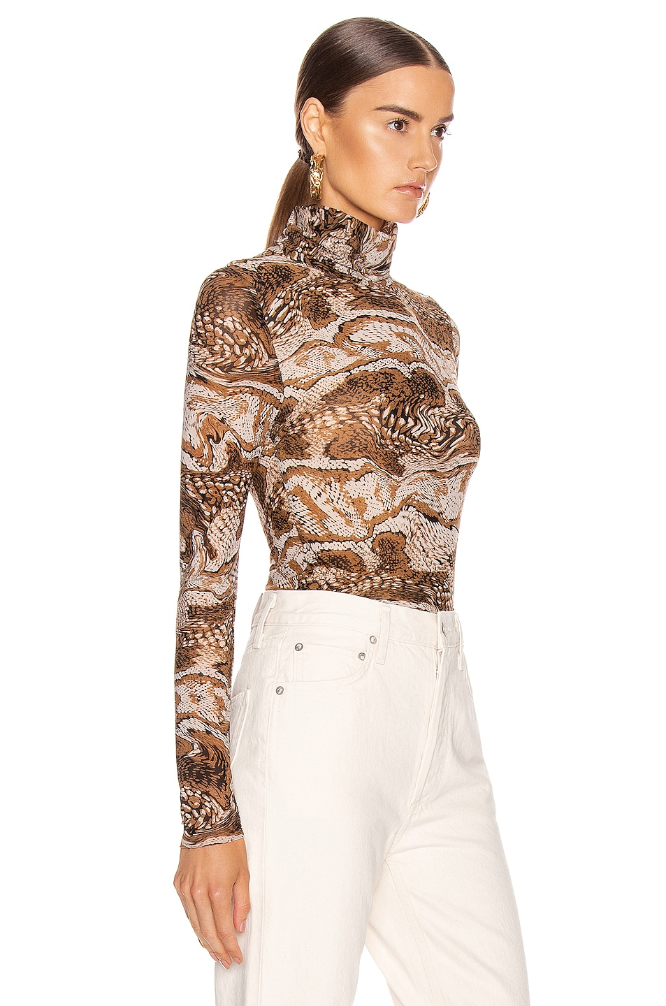 Image 2 of Ganni Mesh Turtle Neck in Tiger's Eye